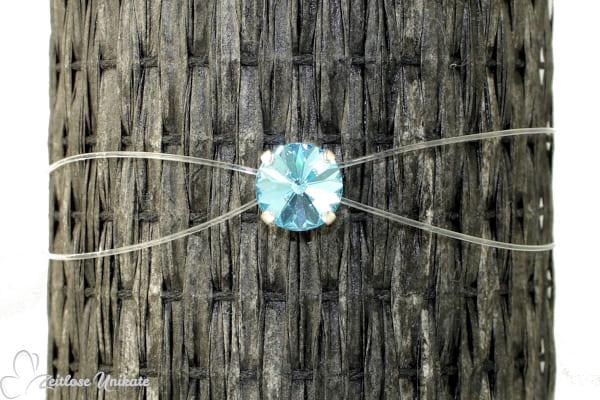 Brautschmuck -Etwas Blaues- - Armband mit schwebenden Kristallstein in aqua, zauberhaftes Funkeln