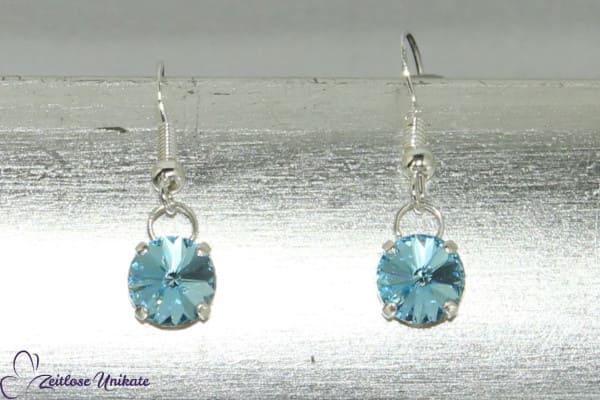 Aqua, kurze Ohrhänger mit schwebenden Kristallstein (2 Größen), zauberhaftes hellblaues Funkeln