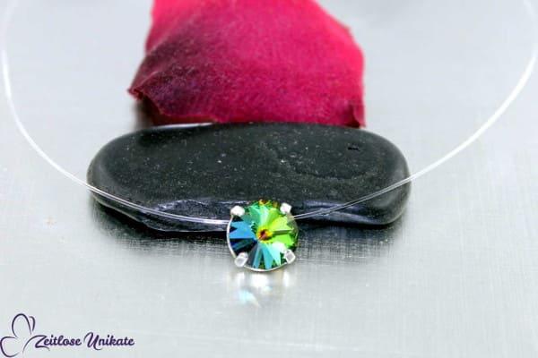 Changierender schwebender Stein, Kette mit crystal vitrail medium / multicolour Kristall