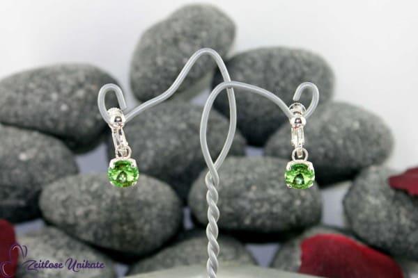 Peridot, Ohrringe mit schwebenden Kristallstein (2 Größen), zauberhaftes hellgrünes Funkeln