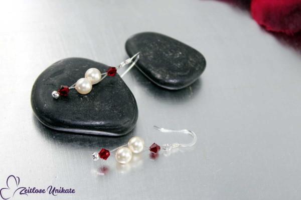 Siam - Luftig, filigrane Ohrringe - schlicht und elegant, mit rot ... wie die Liebe