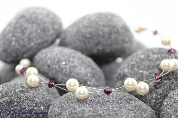 Brautschmuck - Luftig, filigrane Kette - schlicht und elegant - in amethyst / lila * andere Farbe?