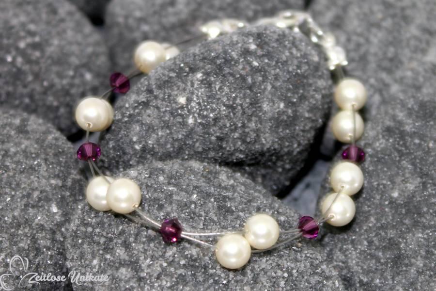 Armband für die Braut mit amethystfarbenen Kristallen