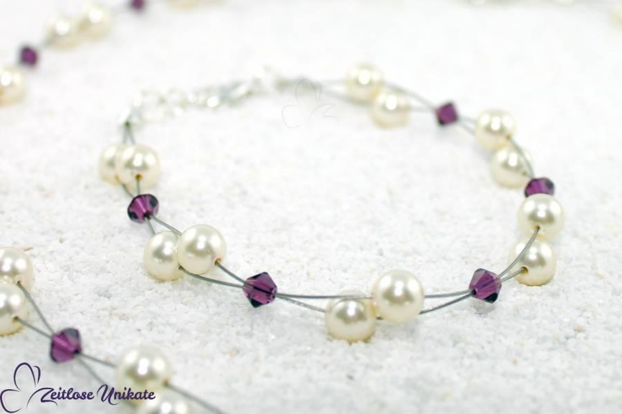 lila Kristalle, Armband Braut