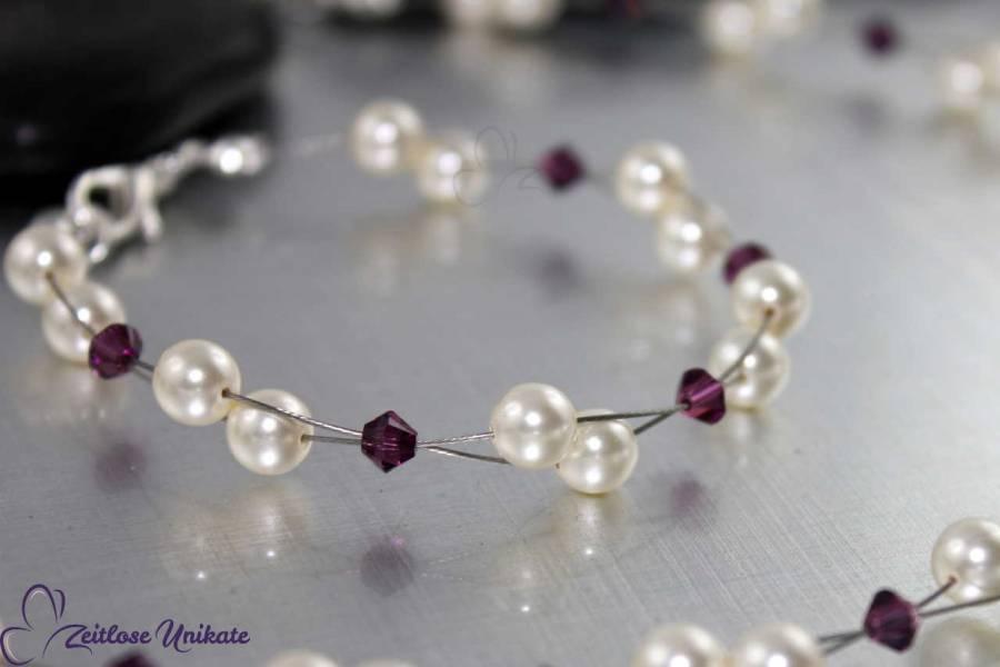 Brautschmuck - Luftig, filigranes Armband für die Braut - nur ein Farbbeispiel in amethyst