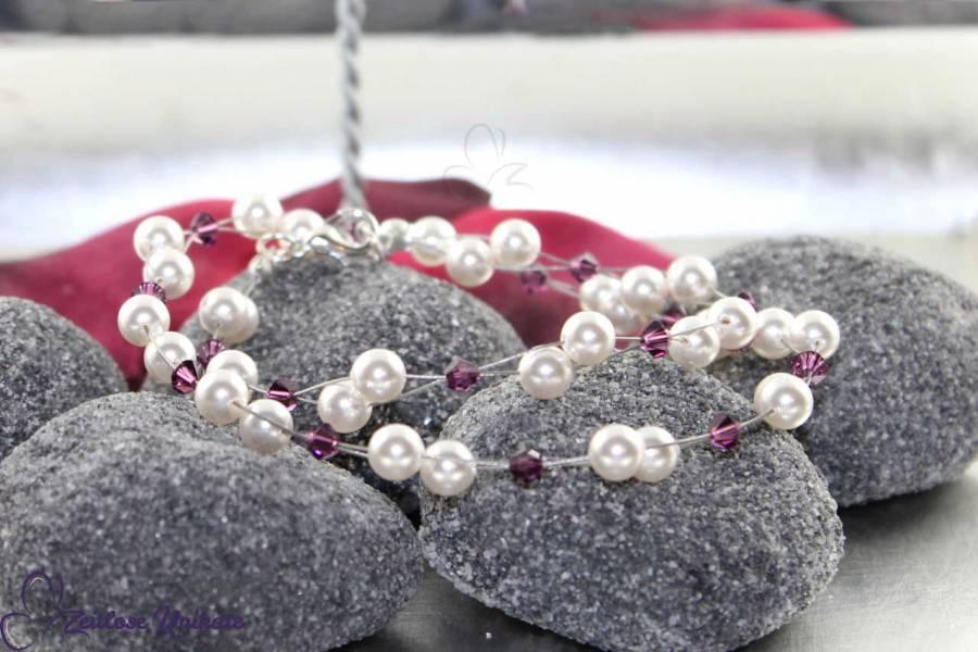 luftige Perlenkette amethyst schlicht