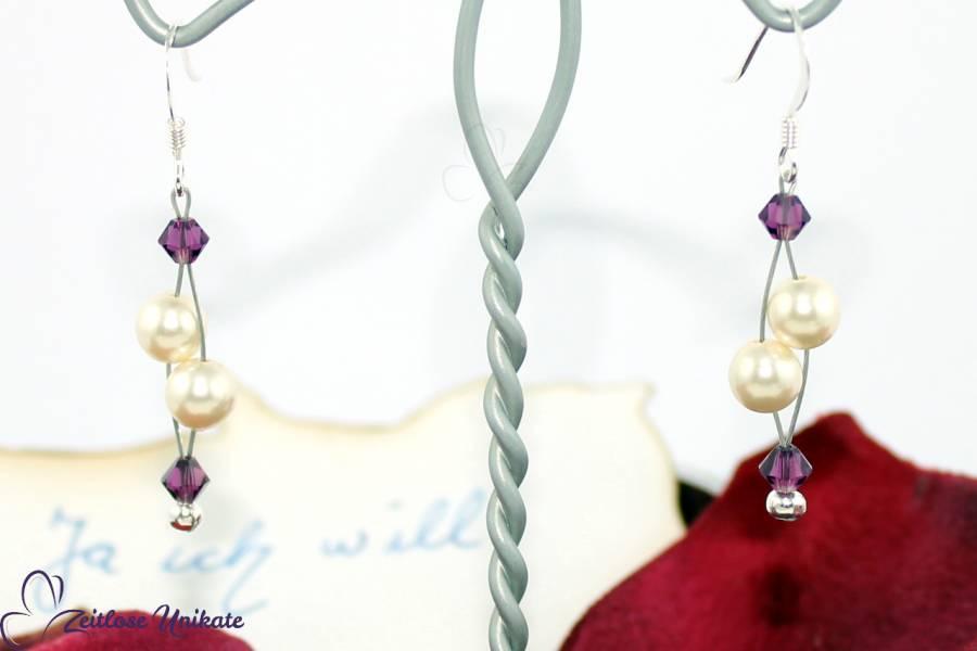 luftige Brautohrringe weiße Perlen Kristalle amethyst