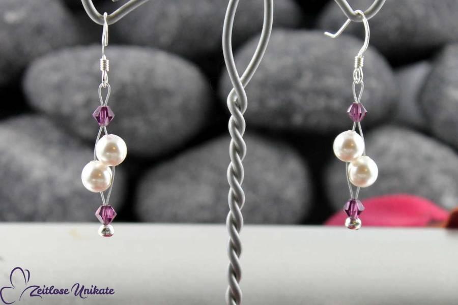 Luftig, filigrane Ohrringe für die Braut die es schlicht aber mit / in Farbe mag