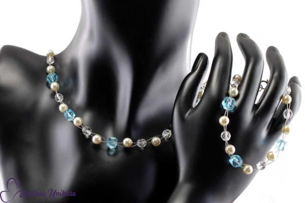Brautschmuck - Etwas Blaues, Kette mit klassischem Hochzeitsbrauch + ausgefallen
