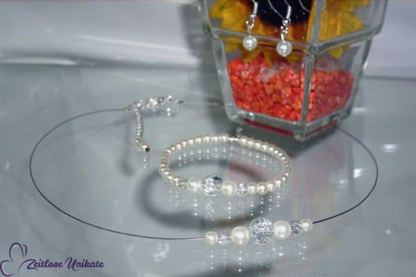 Ich trage sonst keinen Schmuck ~ transparente o. silberfarbene Kette ~ versilberte Perlen möglich ~