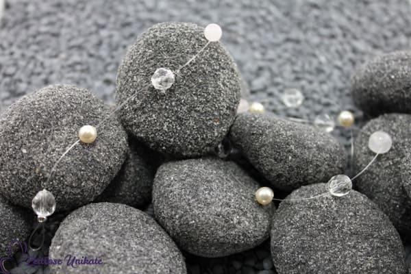 Schlichte Brautranke mit Rosenquarz Perlen - 2 Perlengrößen - verträumtes Haarband für die Braut