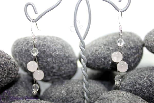 Rosenquarzbraut, romantische Ohrhänger mit Rosenquarz Perlen + Mineralquarz ~ Liebe