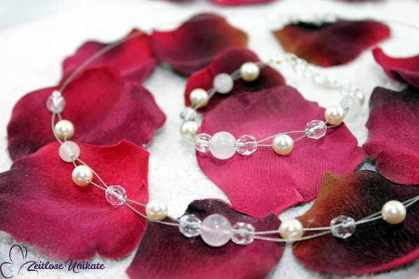 Brautschmuck - Rosenquarz M, romantische Kette mit Rosenquarz Perlen