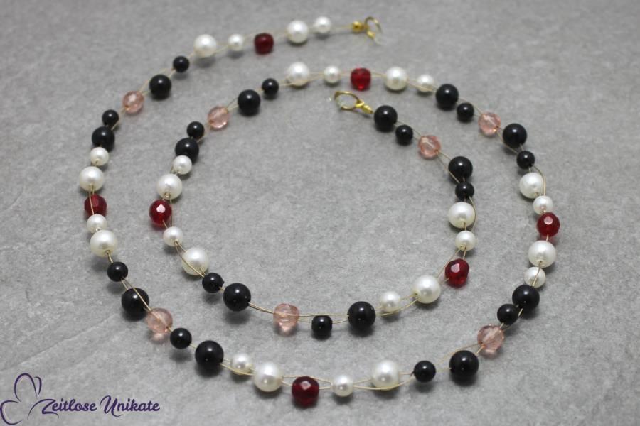 Mixed IT, Brillenkette oder lange Kette in schwarz, weiß, rot und rosa