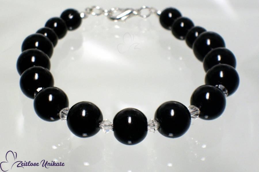 Noire, Armband mit Kristallperlen, Beispiel in schwarz für eine Gothic Braut, viele Farben möglich!