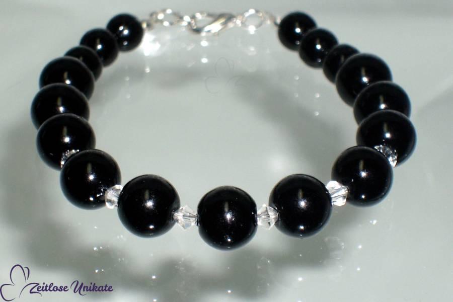 schwarzes Armband, funkelnde Kristalle, Gothic Brautschmuck