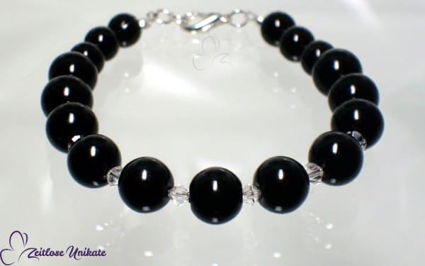 Noire, Armband mit Kristallperlen, Beispiel in schwarz, viele Farben möglich!