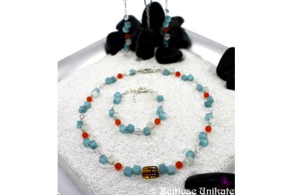 Türkise Katzenaugen, zauberhafte Kette mit passenden Ohrringen und Armband, türkis, weiß, orange ...