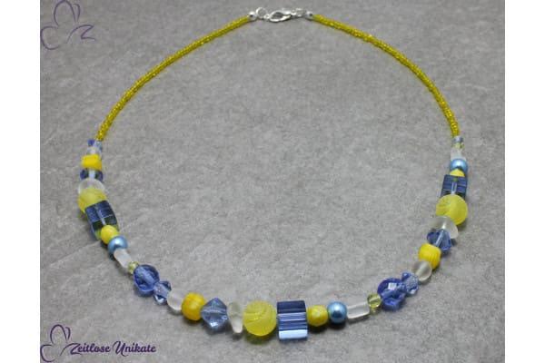 ZUdurcheinander? Gelbblau, Halskette in gelb und blau - Komplementärfarben