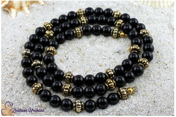 Beispiel: Das Land Kemet II, Brillenkette oder lange Halskette in schwarz und antikgoldfarben