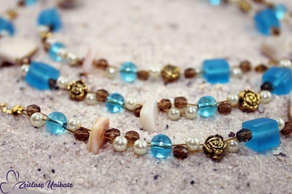 ZUlimitiert 4 von 5 - Ozean Muschel, Brillenkette o. Halskette in türkis, braun, natur & antikgoldf.
