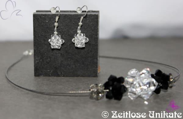 + Zauberhaft funkelndes Schmuckset + Collier & Ohrrhänger mit Würfeln aus Kristallglas