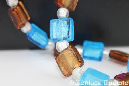 Himmel und Erde, Kette in aqua & braun, traumhaft schöne Silberfoil Glasperlen - ZUlimitiert max. 3