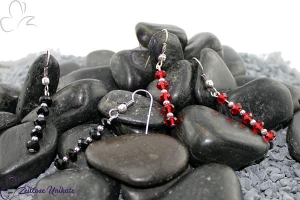 funkelnde elegante lange Ohrhänger in rot oder schwarz / silberfarben