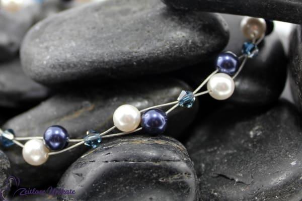 Luftig filigranes Armband in Montana Blend / dunkelblau & weiß, schönes Perlenarmband - ZUluftig