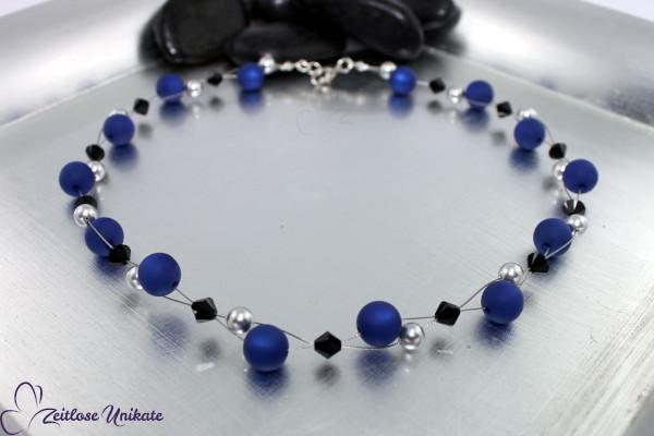 Elegante Kette in royalblau, grau und schwarz, interessante Perlen - ZUgroß ehem. dunkelblau