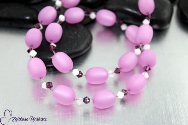 Schimmernde Polariskette in pastell lila, weiß und amethyst - ZUknallig Halskette einfach zauberhaft