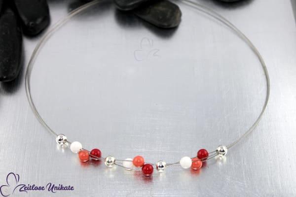 Dreierlei, moderne, schlichte Kette in rot, coral, ivory & versilbert * 3 Abschnitte *ZUdreierlei