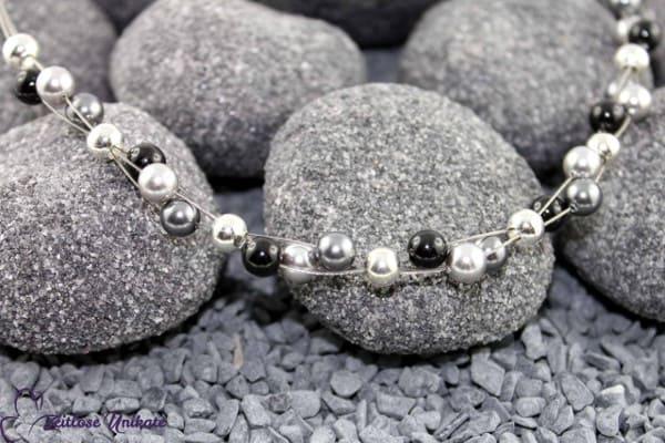 Dreierlei, moderne, schlichte Kette in hellgrau, dunkelgrau und schwarz * ZUdreierlei 7