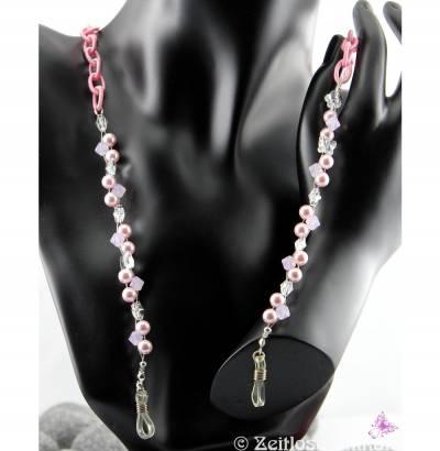 Von Blumen & Schmetterlingen, verträumte Brillenkette in rosa / kristall, als FARB-Beispiel