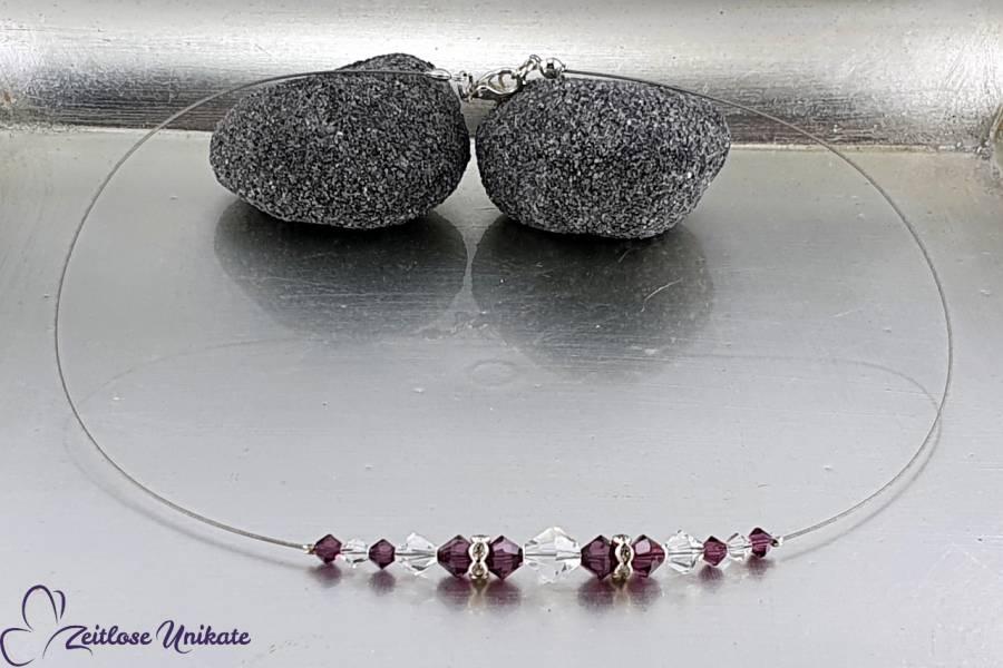 Herz Dekolleté Kette mit Kristalle in amethyst und kristallklar sowie Strass