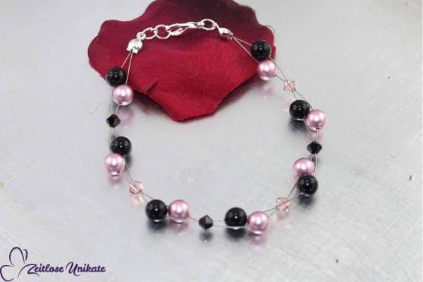 Luftig, filigranes Armband in Vintage Rose (altrosa) und schwarz, zauberhafte Perlen - ZUluftig