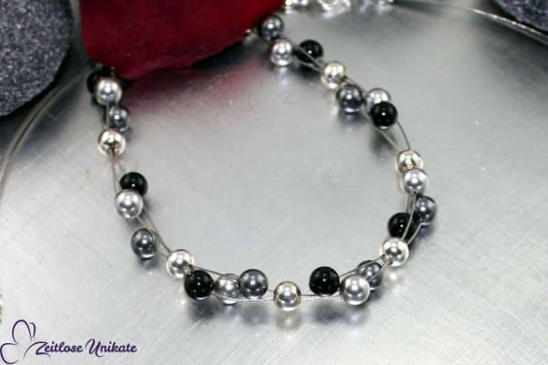 ZUdreierlei, modernes, schönes Armband in hellgrau, dunkelgrau und schwarz * einfach SCHÖN