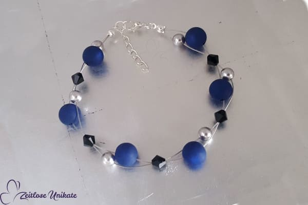 Elegantes Armband in royalblau, grau & schwarz, interessantes Perlenspiel - Zugroß ehem. dunkelblau