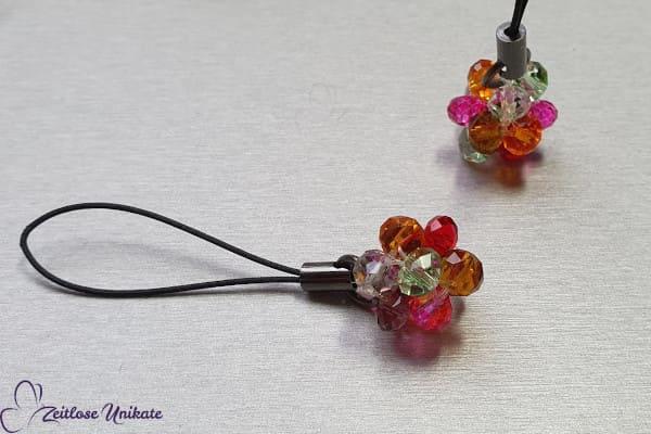 Schlüsselanhänger, Schlüsselring, Taschenanhänger -  gitzernder Perlenknubbel - schön bunt