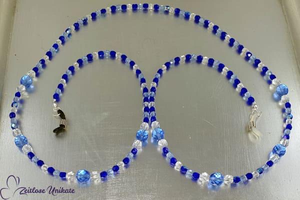 Elegante zierliche Brillenkette in blau, modisch & zeitlos - Kette - Maskenkette - Brillenband
