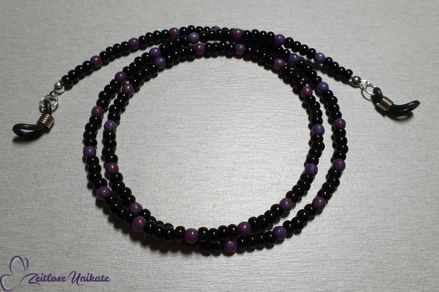 Brillenkette schwarz violett, interessante schöne Perlen