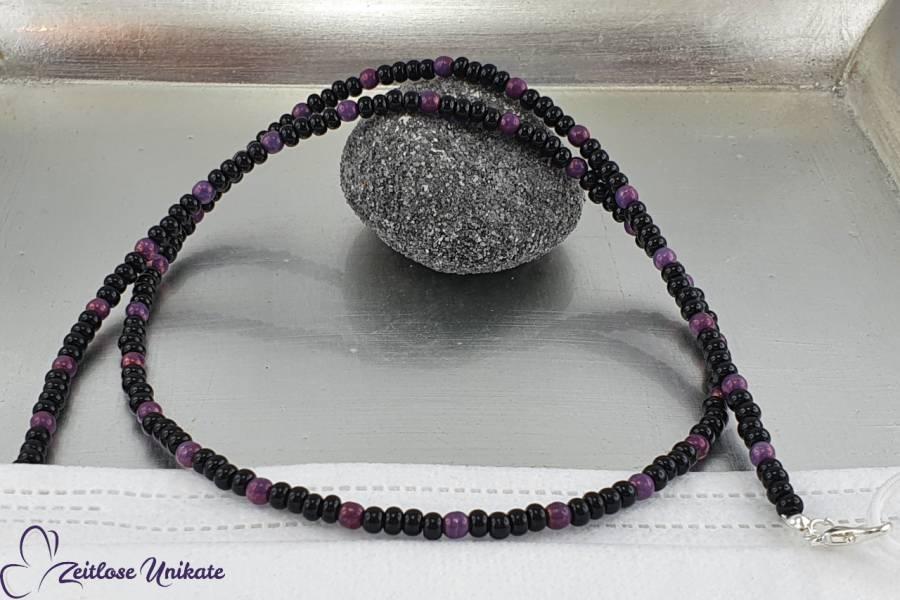 Brillenkette wird zur Maskenkette violett schwarz