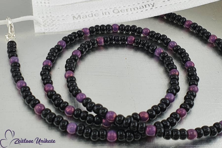 Maskenkette Brillenkette Kette schwarz violett