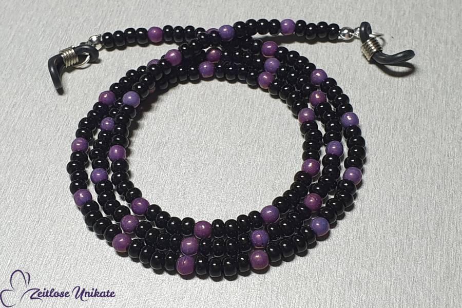 schwarz violette Brillenkette, kleine zauberhafte Perlen