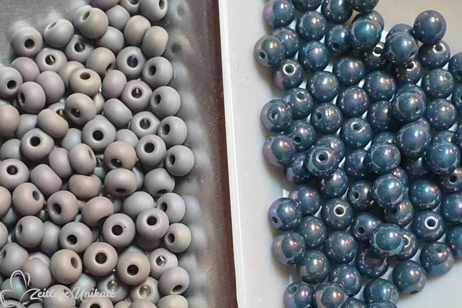 handgefertigte Brillenkette auch auf Wunsch, hier grau türkisblau