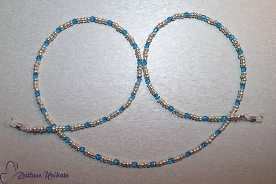 Brillenkette aluminium blau glitzernde Perlen