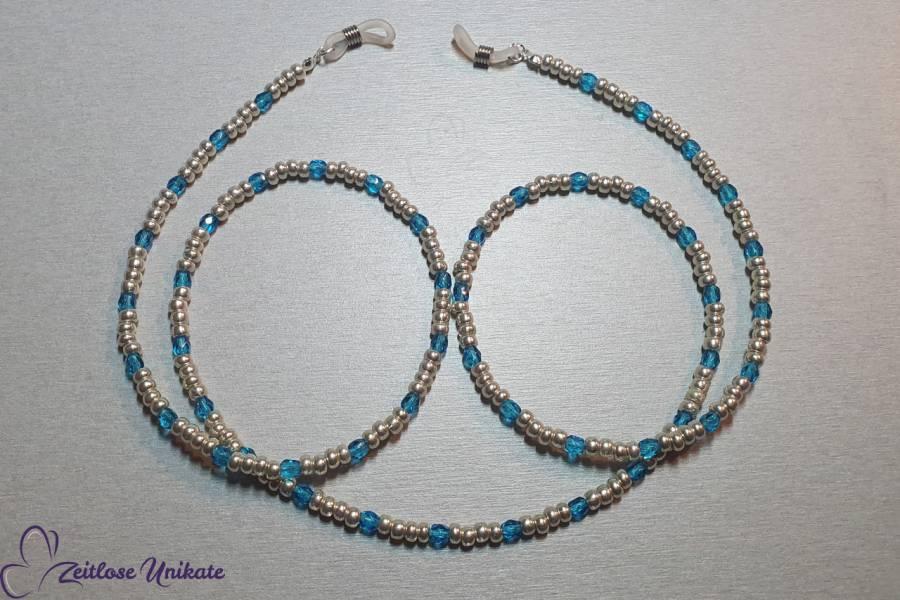 Brillenkette blau aluminium kleine Perlen Kette