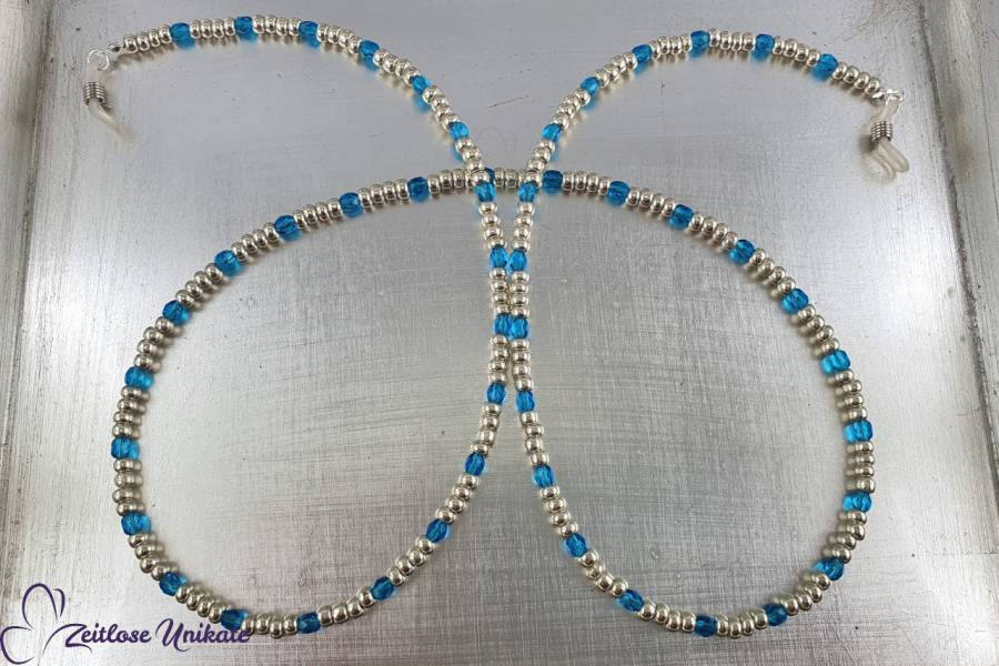 Brillenkette mit Urlaubsfeeling, Sonnenbrille Kette blau silber