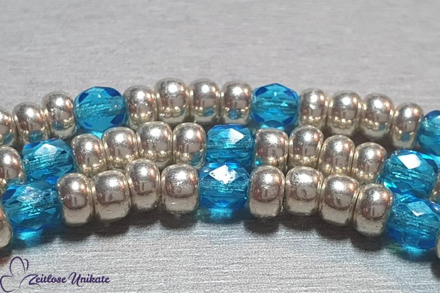 Kette für die Brille Karibik blau aluminium