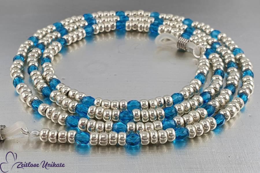 Brillenkette Karibik | zauberhafte blaue & aluminiumfarbene Glasperlen | Maskenkette | ZUroca